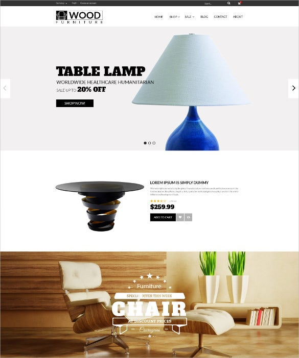 wood furniture decoration blog template