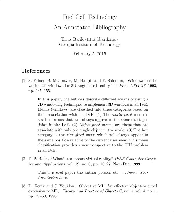 cover page for an annotated bibliography by apa