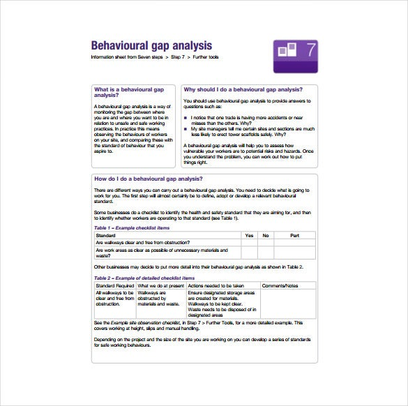 behavioural gap analysis pdf template free download1