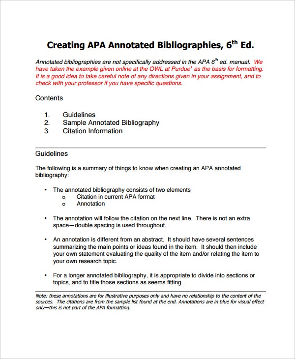 Sample annotated bibliography high school for Apa version 6 template
