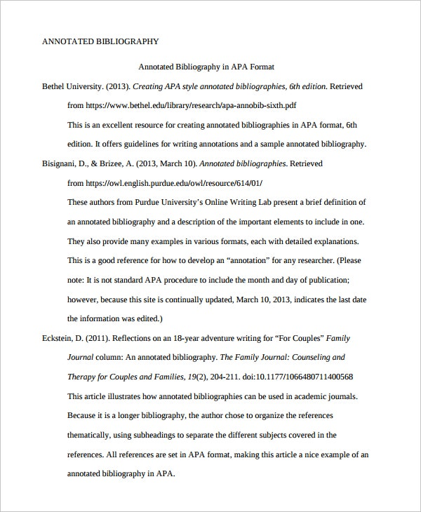 Annotated Bibliography  Free Sample Example Format  Free
