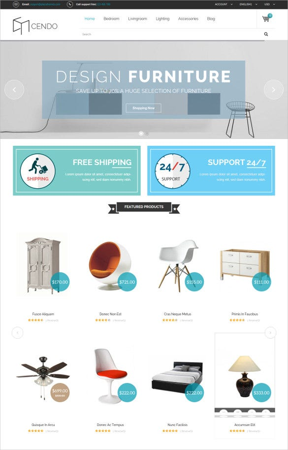responsive magento furniture blog theme