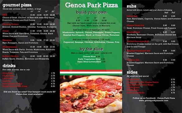 new york restaurant menu template