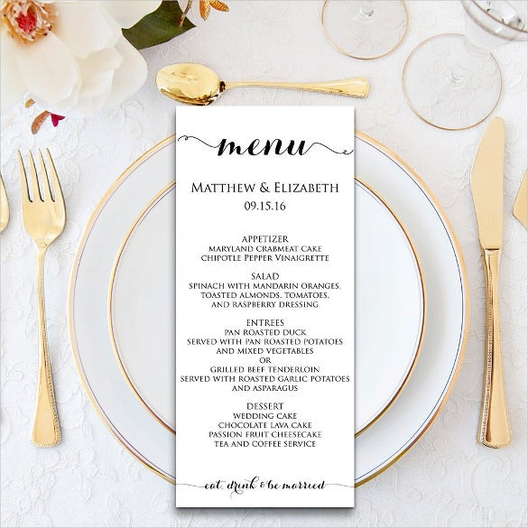 printable wedding dinner menu pdf instant download