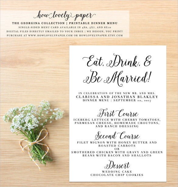 printable wedding dinner menu card template download