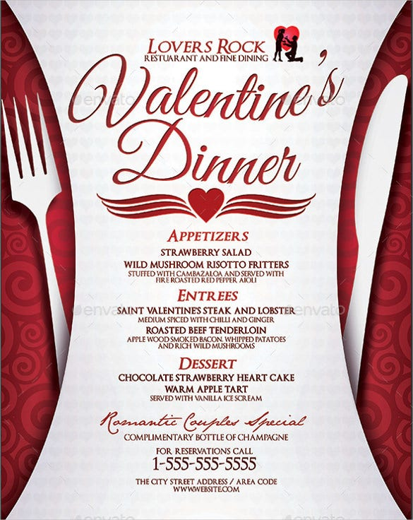 valentines dinner menu template download