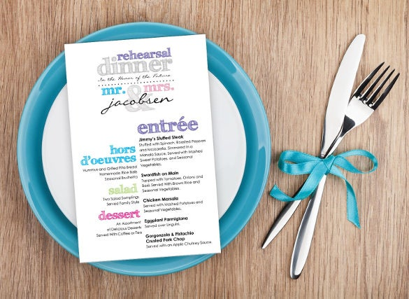 multi colored rehearsal dinner menu template download