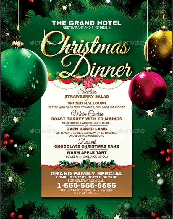 christmas dinner menu vector eps template download