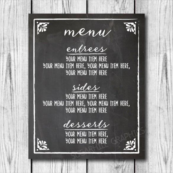 custom wedding dinner menu sign template download