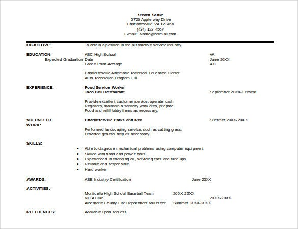 automobile resume template word