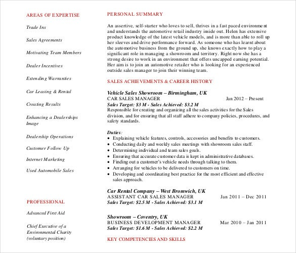 car sales manager automobile resume free pdf