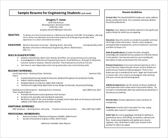 engineering students resume pdf format free template - Experienced Mechanical Engineer Sample Resume
