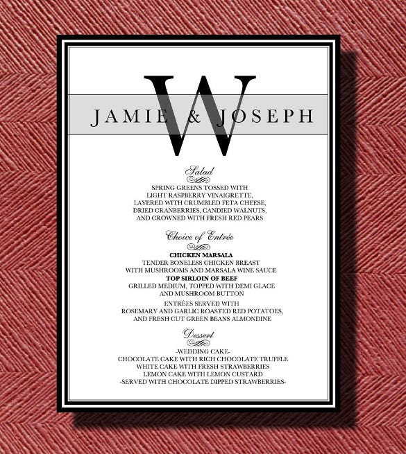 wedding reception dinner menu template download