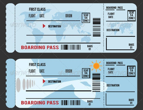 Boarding pass invitation template for Pretend plane ticket template