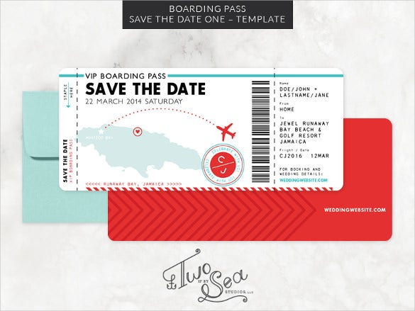boarding pass save the date template psd design