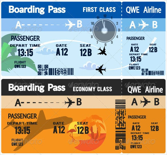 airline boarding pass tickets eps design