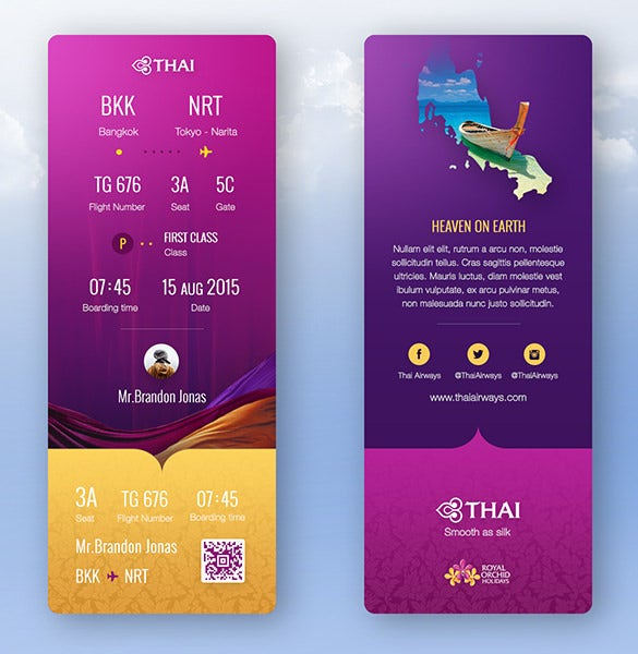 thai airways ticket boarding pass redesign