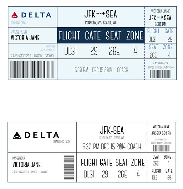 Delta Boarding Pass Different Design  Free Pass Template