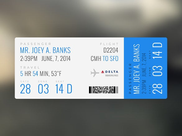 design of flying boarding pass