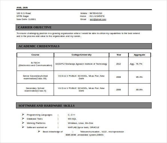free doc format fresherss electronics comm engineering resume