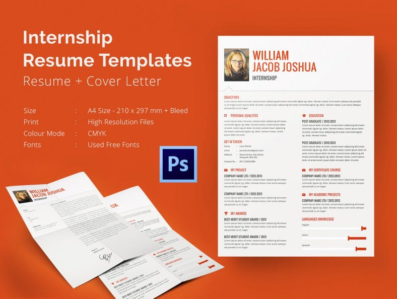 internship resume template 11 free samples examples psd