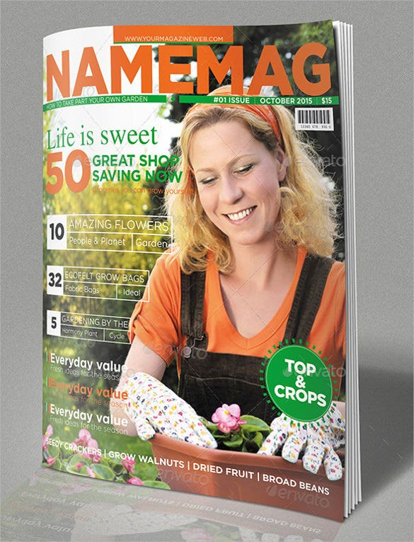 gardening magazine cover template