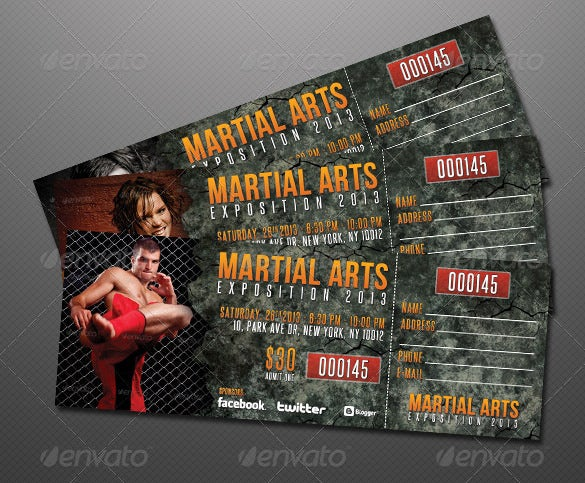 creative martial arts event ticket design download