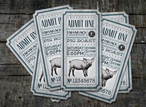 tamarack pig roast tickets design