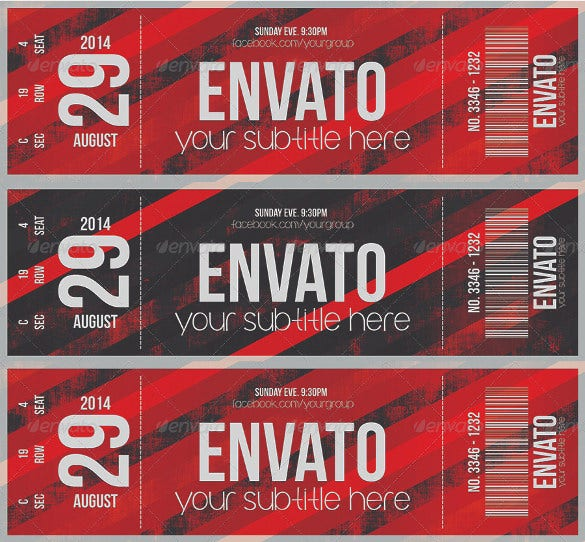 Good When Nothing Seems To Grab Your Attention, This Ticket Design Online Is  Sure To Succeed. With Its Elegant And Passionate Red Design And Bold  Graphics You ...  Concert Ticket Design