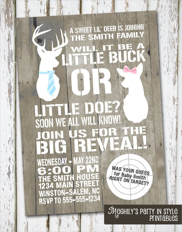 buck or doe gender reveal invitation template download