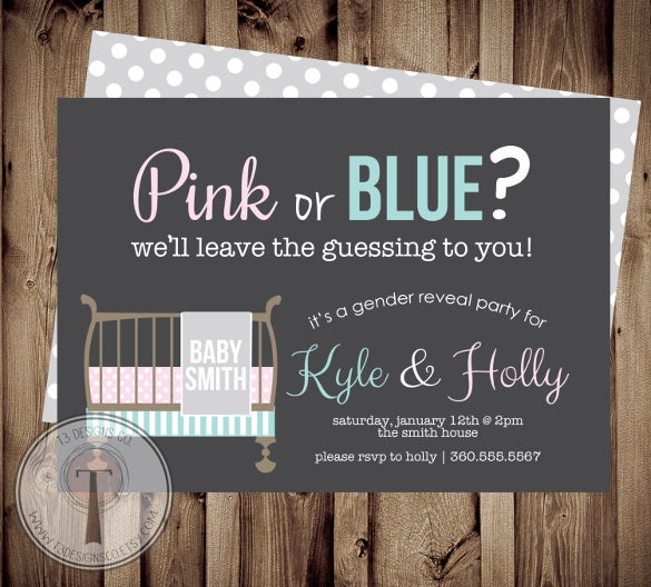 baby crib gender reveal party invitation template