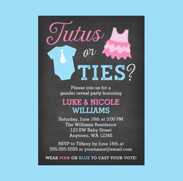 tutus or ties gender reveal party invitation download