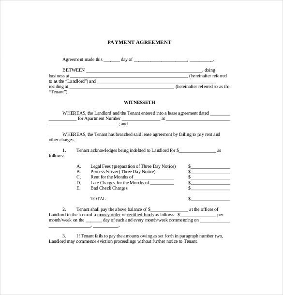 11 payment agreement templates free sample example