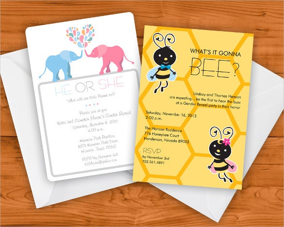 beatiful gender reveal invitation template download