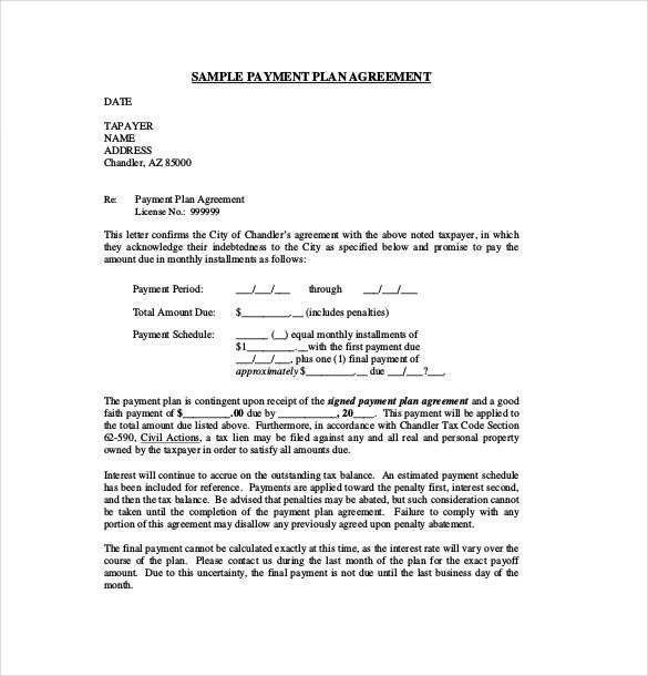 Payment Contract Templates Sample Payment Plan Agreement Template