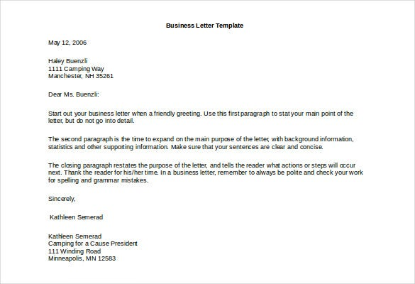 marketing business letter template free download doc