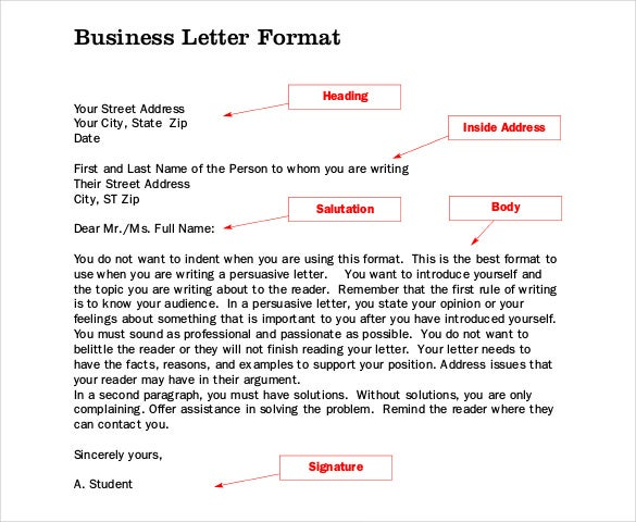 free download business letter format pdf template - Business Letter Format Template