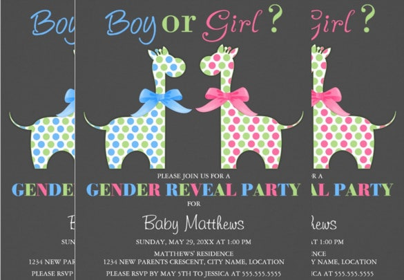 boy or girl giraffe gender reveal invitation download