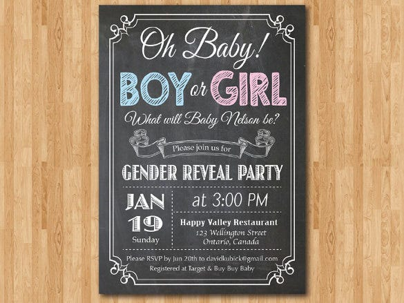 chalkboard gender reveal invitation template