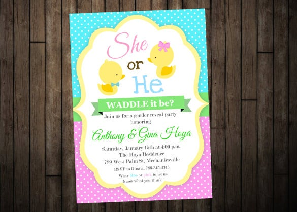 duck gender reveal invitation template download