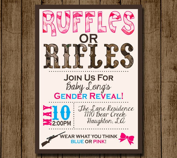 ruffles or rifles gender reveal invitation template