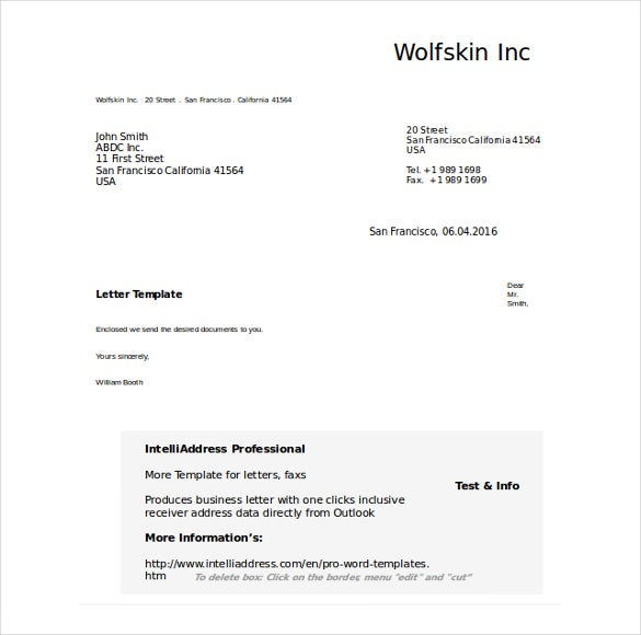 Free Doc Format Business Letter Template  Professional Letter Template Word 2010