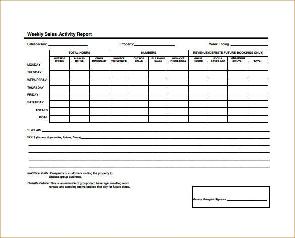 weekly sales activity report word template free download