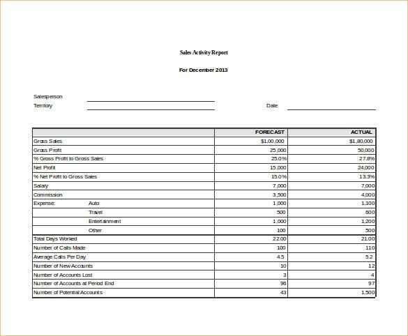 sales activity report excel template free download