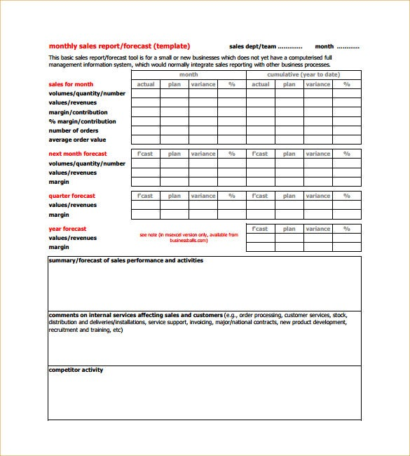 Sample Sales Activity Report Template 8 Free Word PDF Excel – Sales Weekly Report Template