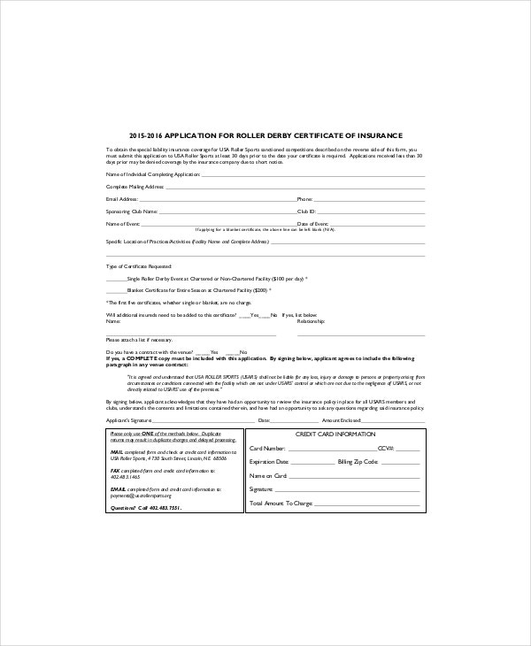 Roller Hockey Certificate Insurance Template