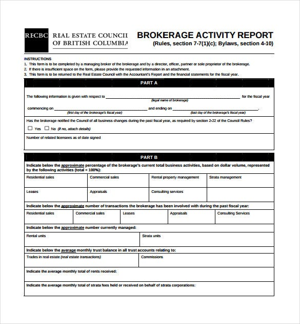 brokerage sales activity report pdf template free download