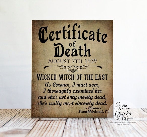 wicked witch death certificate