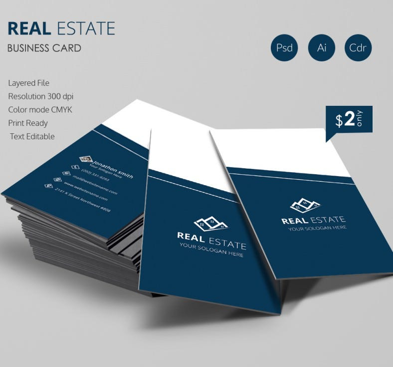 Real Estate Business Card Template Free Premium Templates