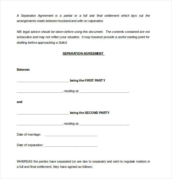 Sample Party Separation Agreement Template Free Download  Free Agreement Template